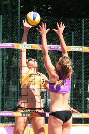 huntington beach: Legionowo, Poland - June 28.2015: one of the tournaments within the Polish championship in volleyball