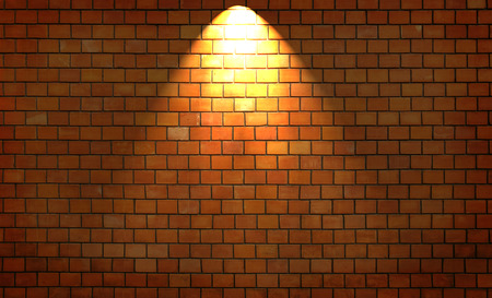 projekt: Red brick wall with a single light from above