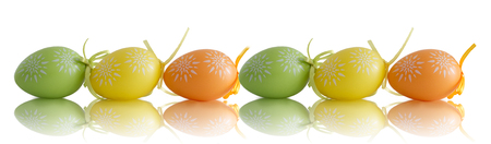 Panorama with colorful Easter eggs on a white background