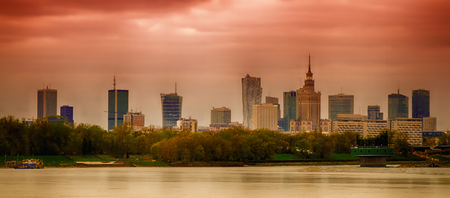 Panorama of Warsaw with modern skyscrapers and Palace of Culture and Science made on the Vistula River