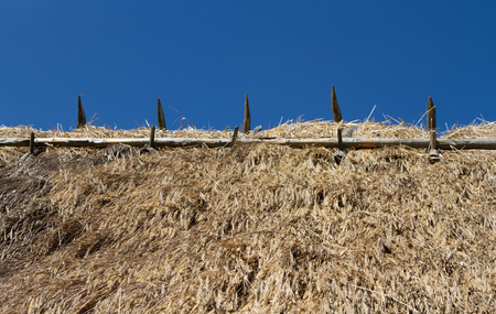 Blue sky without clouds and straw roof of old country house Stockfoto