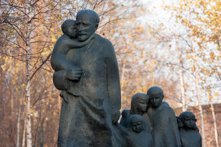 Monument of Janusz Korczak standing in Warsaw at the Jewish cemetery Editorial