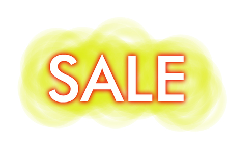 white lettering SALE with a red shadow on a yellow blur background Stock Photo