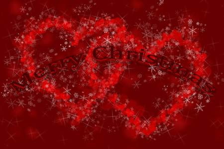 three-dimensional, rounded Merry Christmas inscription on the background of two hearts formed of small hearts and star bursts, covered with snowflakes