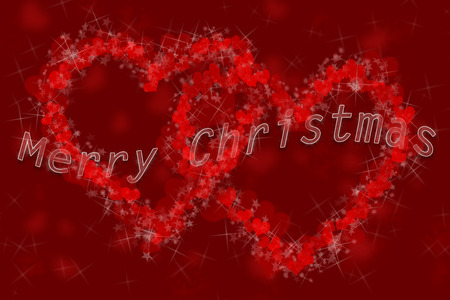 transparent Merry Christmas inscription with white edges on the background of two hearts formed of small hearts and star bursts