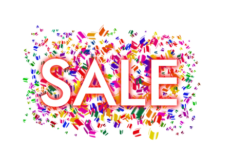 white inscription SALE with a red circle on a background with colorful flying sticky notes on a white background