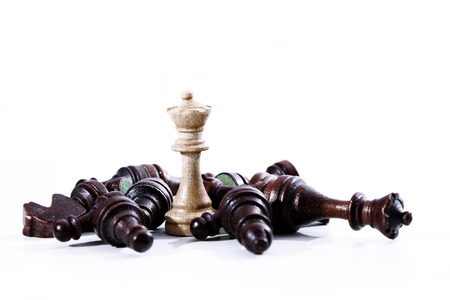 Business concept - chess - good overcomes evil - competition Reklamní fotografie - 95852602
