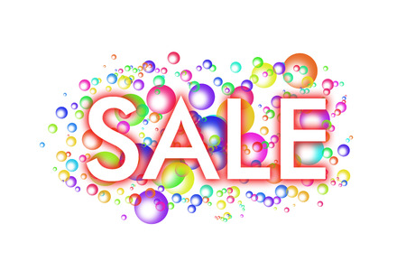 white inscription SALE with a red shadow on a background of colored soap bubbles on a white background Stock Photo