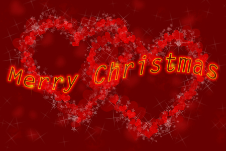 Merry Christmas lettering with yellow, shiny edges on the background of two hearts formed of small hearts and star bursts Stock Photo
