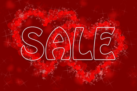 transparent SALE sign with a white frame on the background of two hearts formed of many small hearts, stars and flares Stock Photo