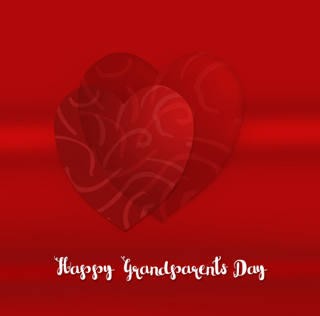 On a shaded red background two red hearts with a pattern and the words Happy Grandparents Day