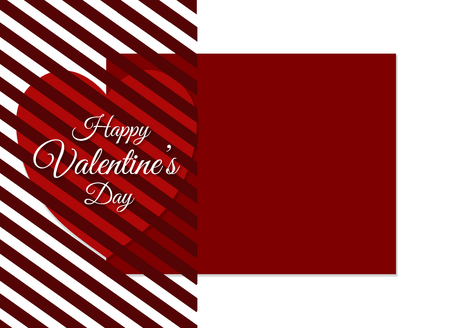 The inscription Happy Valentines Day background with a red heart covered with a striped pattern on a white background