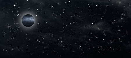Night sky with stars and the full moon