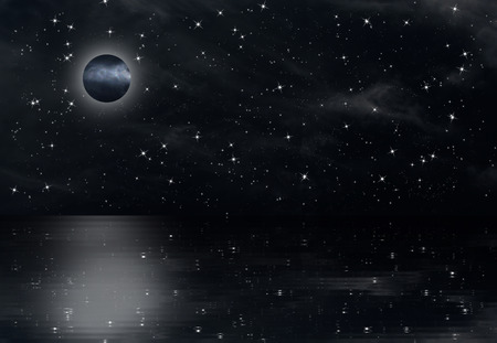Night sky with stars, the moon fully reflecting from slightly undulating water Reklamní fotografie