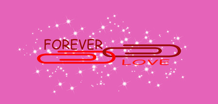 Valentines day - FOREVER LOVE inscription on a pink background with two connected clippings