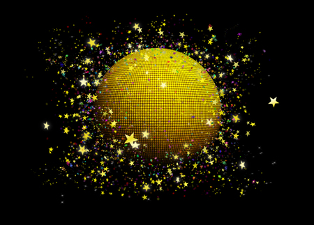 Disco gold ball with golden stars circling around it and colorful confetti papers