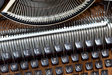Keys and fonts of an old typewriter Stock Photo