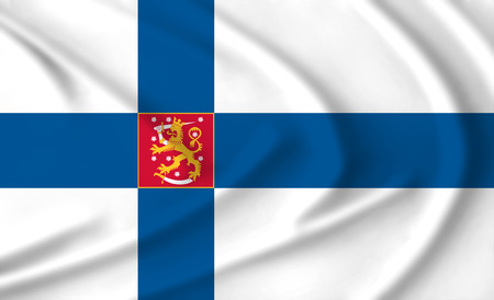 Flag with the coat of arms of Finland waving from the wind, proudly fluttering in the wind