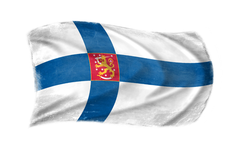 Flag with the coat of arms of Finland in the wind, proudly fluttering in the wind Stock Photo