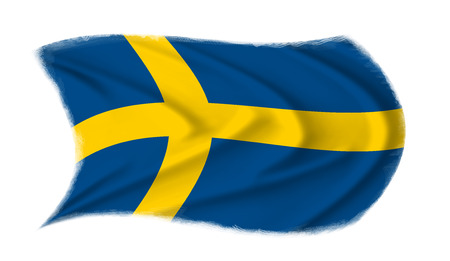 The Swedish flag waving from the wind, proudly waving in the wind