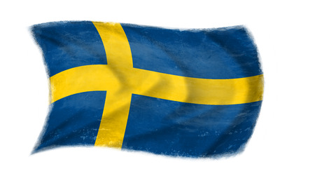 The Swedish flag waving from the wind, proudly waving in the wind with traces of use in battle and destruction from difficult warfare Stock Photo