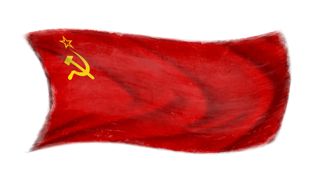The USSR flag waving from the wind, proudly fluttered in the wind with traces of use in battle and destruction from difficult warfare Stock Photo