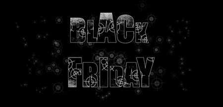 Black Friday - black, shaded white lettering with penetrating shooting targets