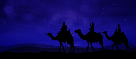 Three kings - wandering in the desert at night slightly shining from the stars
