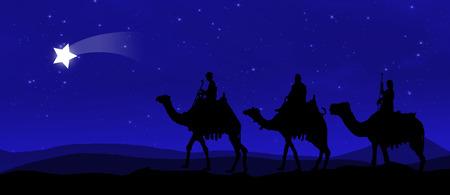 Trois rois - errant dans le désert la nuit contre le ciel avec des étoiles et dirigé par une étoile