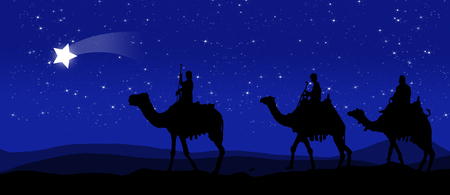 Three kings - wandering in the desert at night against the sky with stars and led by a star Banque d'images