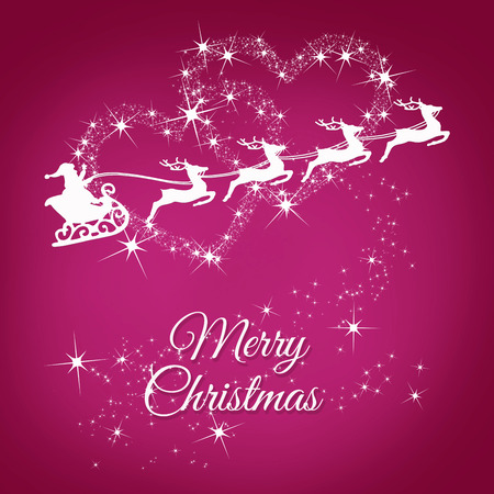 Santa's sleigh pulled by four reindeers on a pink background with stars set in two large hearts and a Merry Christmas inscription