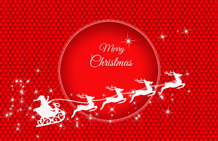 Santas sleigh pulled by four reindeers on a red, quilted background with a red, shaded wheel and the Merry Christmas inscription Stock Photo