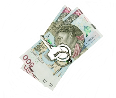 Polish, new 500 PLN banknotes with a key to the flat lying on them 写真素材