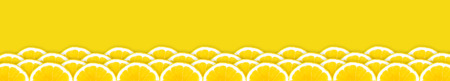 Several rows arranged with juicy, appetizing oranges on a yellow, uniform background
