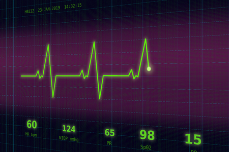 Graph of normal heartbeat on a violet - blue monitor 写真素材