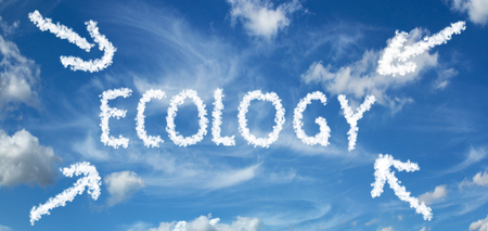 ECOLOGY inscription painted with clouds on a blue background with white clouds with arrows 写真素材