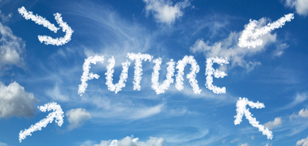 FUTURE inscription painted with clouds on a blue background with white clouds with arrows