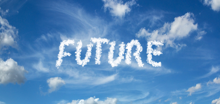 FUTURE inscription painted with clouds on a blue background with white clouds
