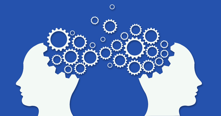Two heads profiles connected by large machine cogwheel on a blue background