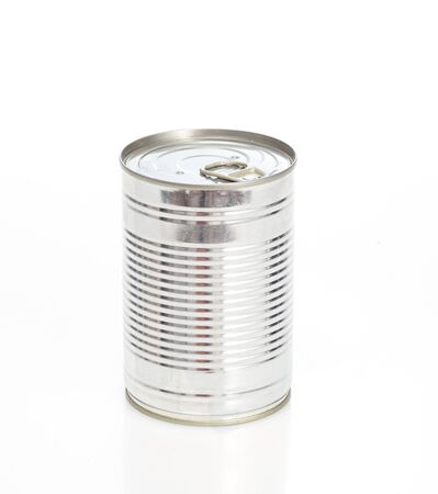 A metal, shiny can photographed on a white background