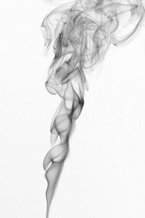Gray, twisted smoke on a white background