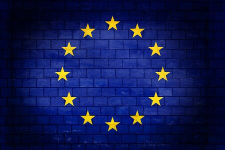 European Union flag painted on an old brick wall 写真素材 - 131838561