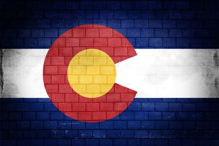 State of Colorado flag painted on an old brick wall 写真素材 - 133004438