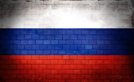 Russian flag painted on an old brick wall Standard-Bild - 131839892