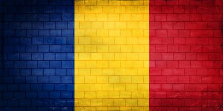 Romania flag painted on an old brick wall Standard-Bild - 131839343