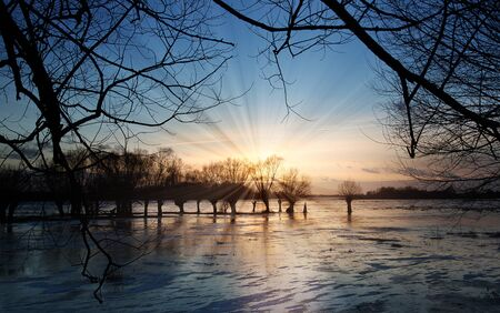 Sun rays shining through the trees on the ice-covered river. Standard-Bild - 133800338