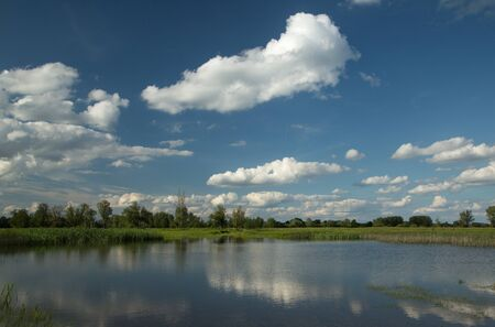 Summer - the clear water of the lake in which white clouds are reflected in the blue sky Standard-Bild