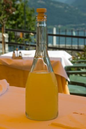 Homemade lemoncello in Italy Stock Photo