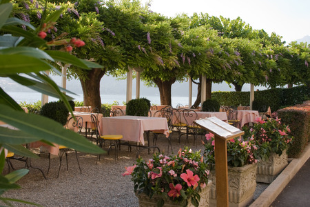 Restaurant by lake Como Italy photo