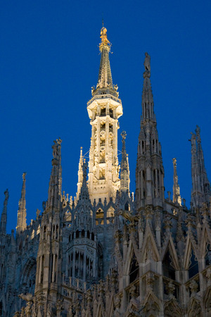 Cathedral of Milan at night.